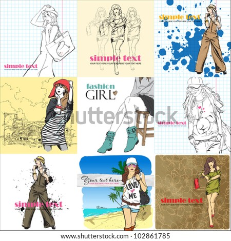 BIG vector set of cards with fashion girls.