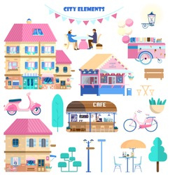 Big vector set of city elements in flat cartoon style. Houses, coffehouse, couple in a cafe, street food shop, icecream cart, scooter, bicycle, street lights, trees.