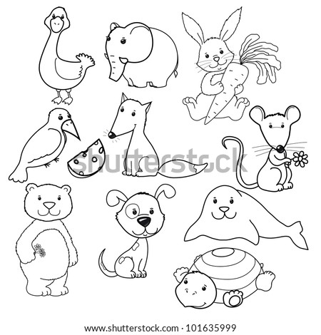 Big vector set of cute animals's contours, coloring book