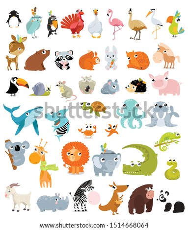 Big vector set of different animals.