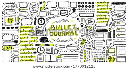 big vector set of frames, arrows, lettering, icons and elements for bullet journal ストックフォト ©