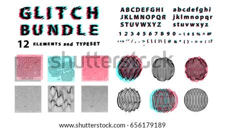 big vector set of glitch art