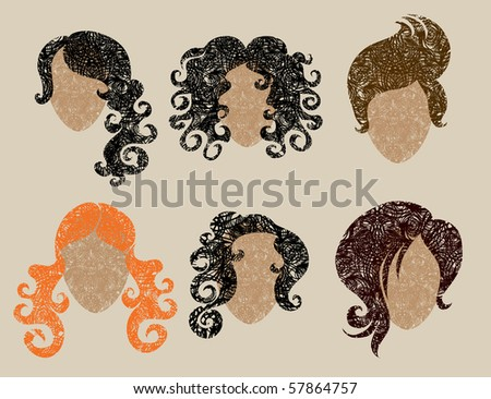 big vector set of grunge hair