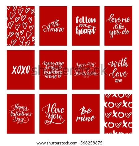 big vector set of hand drawn greeting cards about love white calligraphy isolated on red - Big Greeting Cards