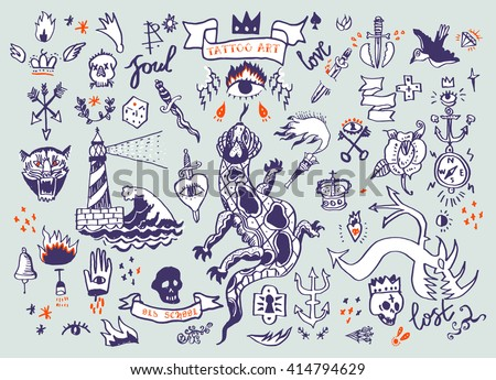big vector set of hand drawn