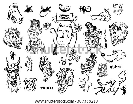 Old School Line Tattoo Collection Vector Download Free Vector Art