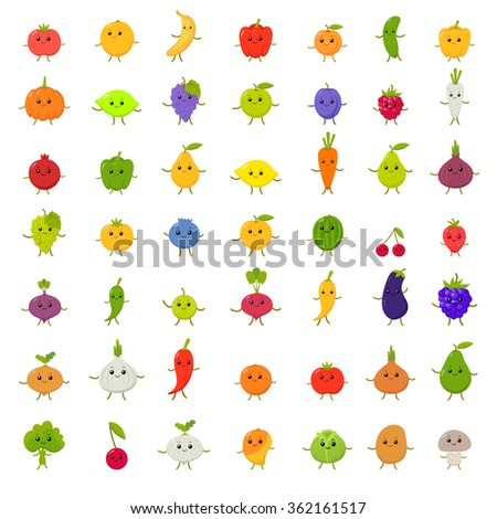 Big vector set of happy vegetables and fruit. fruit faces