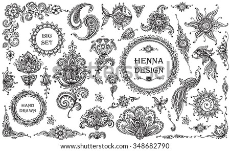 Big vector Set of henna floral and animal elements and frames based on traditional Asian ornaments. Paisley Mehndi Tattoo Doodles collection