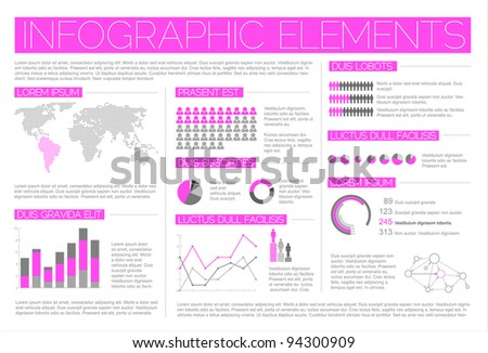 Big Vector set of Infographic elements for your documents and reports (light purple version)