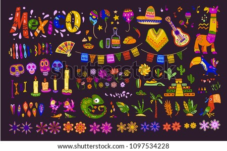 big vector set of mexico