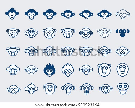 Big Vector Set of Monkey Icons.Outline and Glyphs