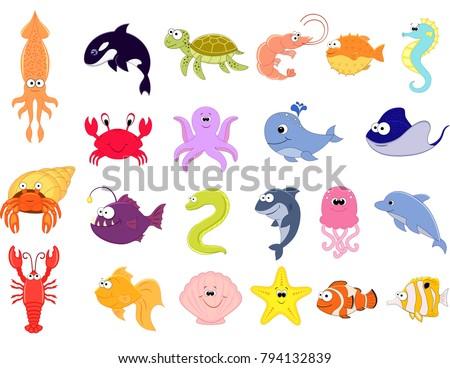 Big vector set of sea creatures. Cute cartoon animals. Vector illustration. Underwoter animals. Sea animals. Whale, dolphin, turtle, crab, jellyfish, seahorse, octopus, starfish, shellfish, shrimp.