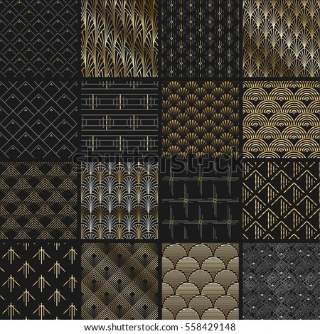 Big vector set of seamless patterns in art deco retro vintage style. Creative templates in style of 1920s. Vector illustration. EPS 10