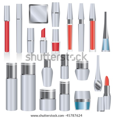 Big vector set of silver make-up and skin care cosmetics packages