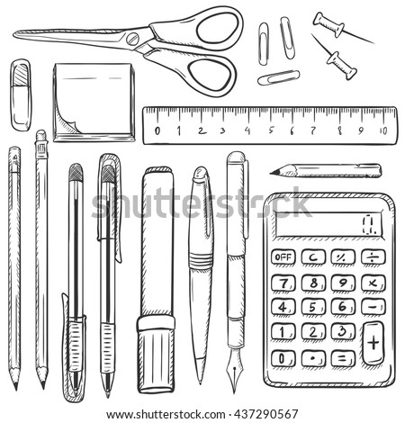 Big Vector Set of Sketch Stationery Items. Eraser, Stickers, Scissors, Ruler, Paper Clips, Drawing Pins,Pencils, Pens, Marker, Calculator. School Supplies. Stationery Mock Up.