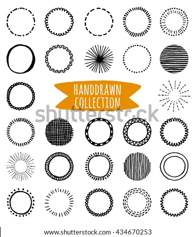 Big vector set of unique hand-drawn decorative shapes for logo design isolated on transparent background. Hand-drawn design elements. Logo creator.