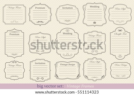 Big Vector Set of vintage frames on retro background