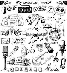 big vector set : Sketchy music illustrations