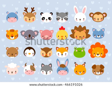 Stock Photo Big vector set with animal faces. Collection of cute baby animals in cartoon style on a blue background. Wild and domestic animals.