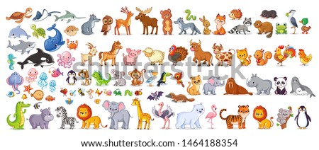 Big vector set with animals in cartoon style. Vector collection with mammals. stock photo