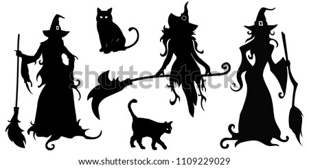 big vector set with black silhouettes of witches and cats on a white background. Illustration halloween ストックフォト ©