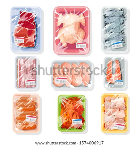 Big vector set with meat, poultry, seafood on plastic trays covered with polyethylene kitchen saran film. Vacuum packaging for storage, transportation of chicken, crawfish, beef steak, sausages.