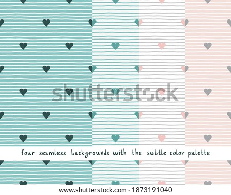 Big vector set with seamless patterns tidewater green and pale pink colors. Subtle delicate backgrounds or baby nursery bedroom. ストックフォト ©