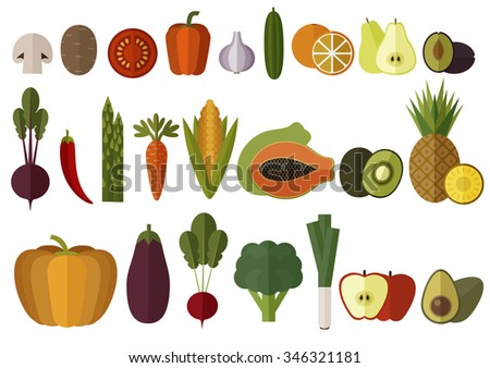 big vegetables and fruits set
