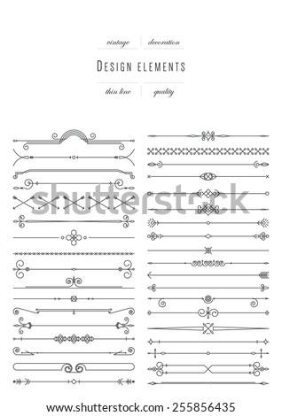 Big vintage set design elements thin line variable line width
