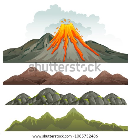 big volcano and rocky landscape