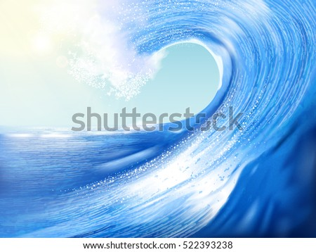 Big wave background, stunning wave scenery for design, 3d illustration