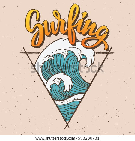 big wave surfing illustration