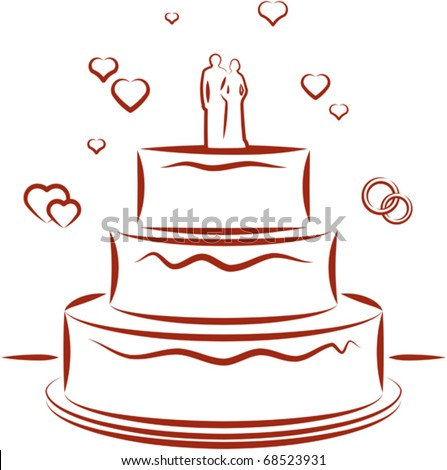 stock vector Big wedding cake with toppers Vector