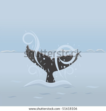 Big whale diving under water. Background with sea life