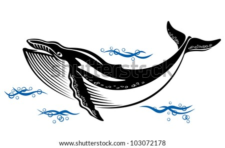 Big wild whale in ocean water in retro style. Jpeg version also available in gallery