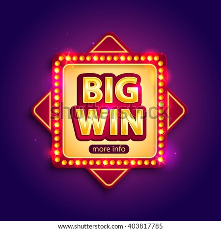 big win banner with glowing
