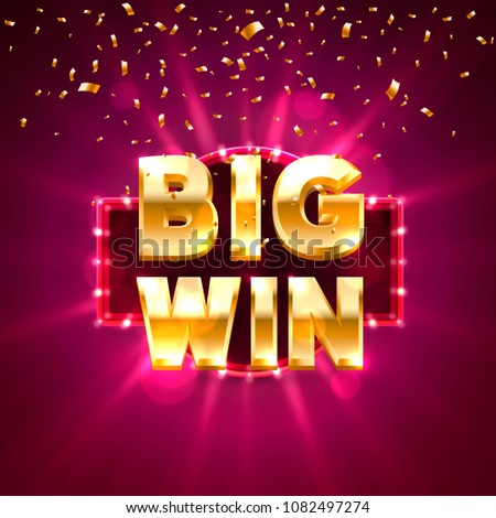Big win casino banner text on the background of the brick wall. Vector illustration