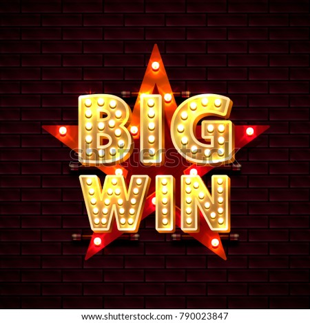 Big win casino star frame banner text on the background of the brick wall. Vector illustration