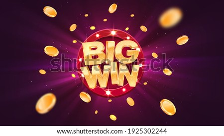 Big win gold text on retro red board vector banner. Win congratulations in frame illustration for casino or online games. Explosion coins  on purple background.