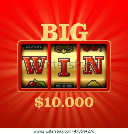 Big Win in slot machine casino banner. Vector illustration.