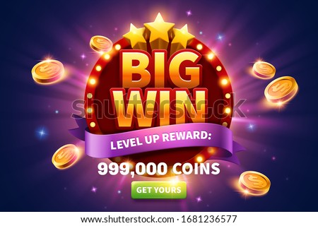 Big win pop up ads with golden coins flying out from round marquee light board for publicity, glittering purple background and green button
