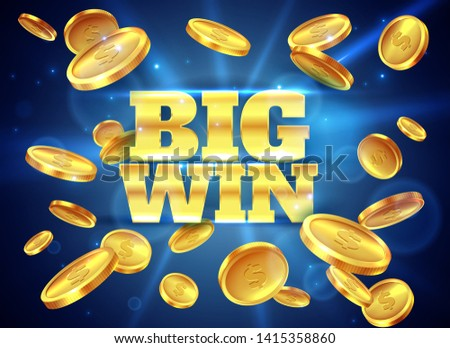 Big win. Prize label with gold flying coins, winning game. Casino cash money jackpot gambling, lucky winner vector abstract background