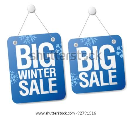 Big winter sale signs set. - stock vector