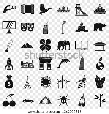 big world icons set simple