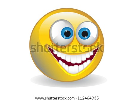 Big yellow 3d smiling smile isolated on white background - stock vector