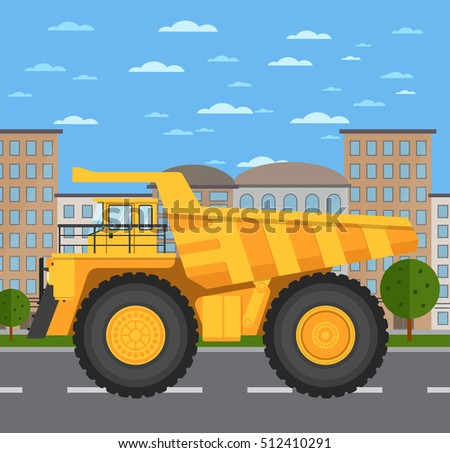 big yellow mining truck on road