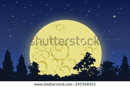 big yellow moon rising above