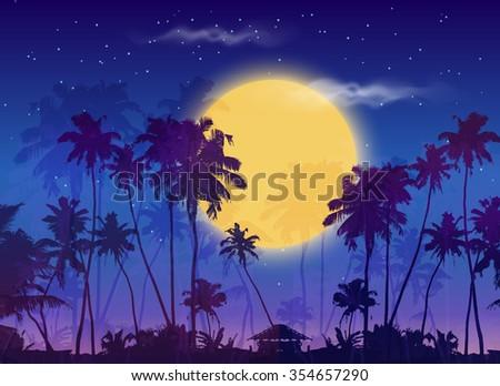 big yellow moon with dark palms