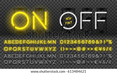 Big yellow neon set glowing alphabet with numbers and punctuation marks. Vector On, Off lamp isolated on transparent background.