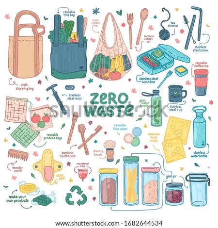 Big Zero waste elements set. Eco friendly design with recyclable and reusable products. Zero waste lifestyle icon for shopping, hygiene, kitchen, takeaway. No plastic. Cartoon doodle style. Vector. Photo stock ©